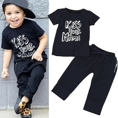 2PCS Kids Infant Baby Boys T-Shirt Tops+Pants Trousers Casual Outfit Clothes Set