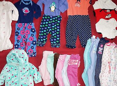 23 pc lot of baby girl clothes 0-3 month Fall/Winter onsies, pants, body suits