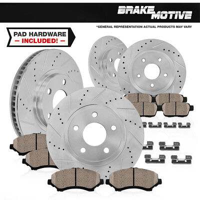 FRONT+REAR DRILLED SLOTTED BRAKE ROTORS & CERAMIC PADS Fits 04-06 Maxima Altima