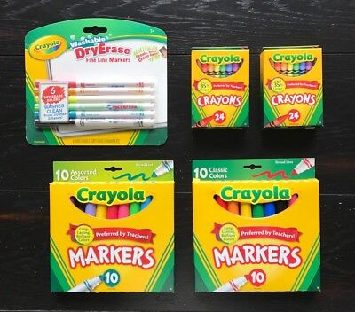 Back To School Crayola Dry Erase Markers Crayons Assorted Colors Marker Bundle