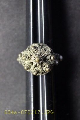 Very Ornate Antique Ladies' Ring Kind of a Washed Gold Tone Size 6-1/2