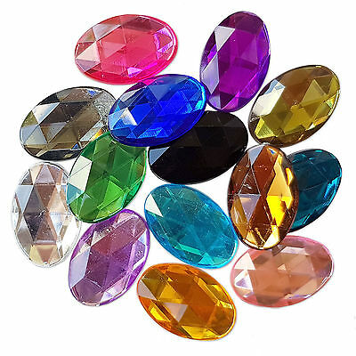 Large 20x30mm FLATBACK Oval Acrylic Crystal Rhinestone Embellishment Gem Jewels