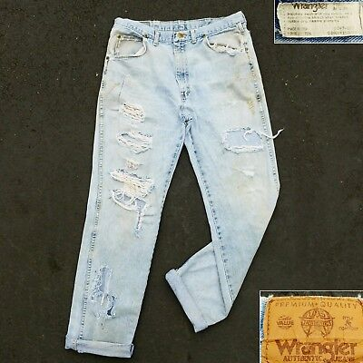 80s 90s Wrangler Jeans Thrashed Distressed Punk Work Denim Hype Ripped Classic