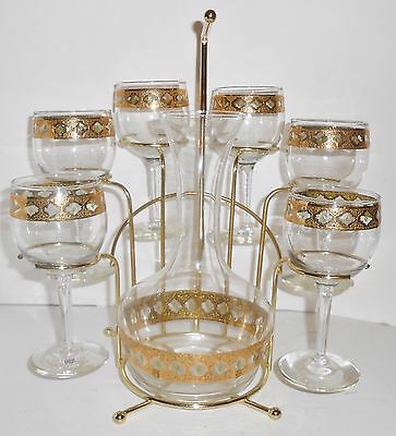 Culver Valencia Wine Caddy Mid Century Gold Green Six Glasses & Carafe Barware
