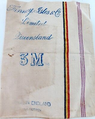 LATE 1800s / EARLY 1900s SUPER RARE FINNEY ISLES & Co QUEENSLAND LARGE CLOTH BAG