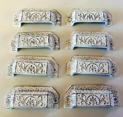 LOT of 8 Drawer Pulls Bin Pull Cottage Chic Cast Iron White Distressed