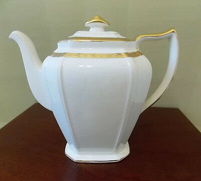 Vtg Limoges Tall Teapot 22K Gold Trim Leaf Ivory Cream White Sebring Ohio USA