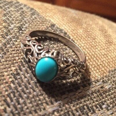 Antique Sterling Filigree Ring With Turquoise
