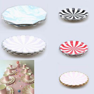 8 Pcs/Set Party Wedding Tableware Disposable Dinner Paper Plates Cups Coloured