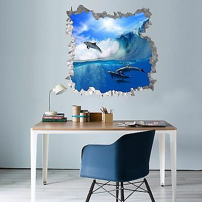 3D Wave Dolphins 18 Wall Murals Wall Stickers Decal Breakthrough AJ WALLPAPER AU
