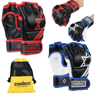 Authentic Leather MMA Grappling Gloves UFC Fight Boxing Punch Bag Sparring w/Bag