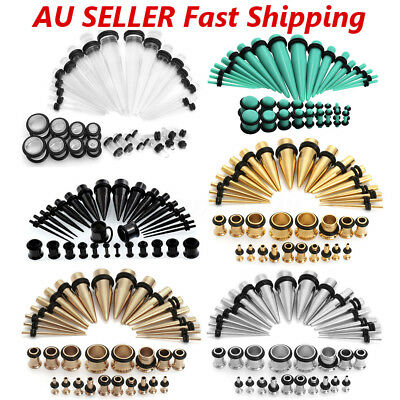 36Pcs Gauges Kit Tapers and Plugs Stainless Steel Tunnels 14G-00G Ear Stretching