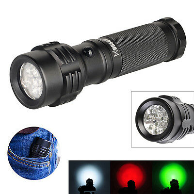 HUGSBY 11 LED 3 Color White Green Red 3*AAA Warning Camping Hunting Flashlight