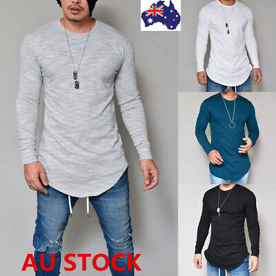 Men's Slim Fit Long Sleeve Shirt Solid T-shirt Tee Shirt Casual Tops