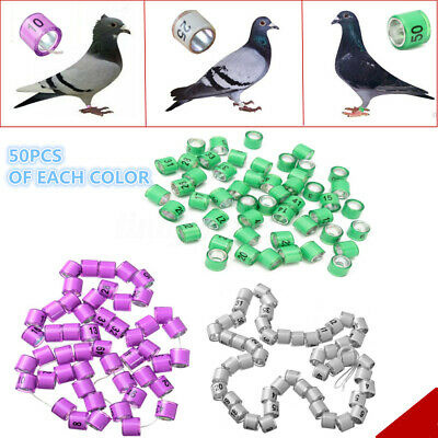 4/8mm 1-50/100 Numbered clip snap Bird Ring Leg Canary Grouped For Parrot Finch