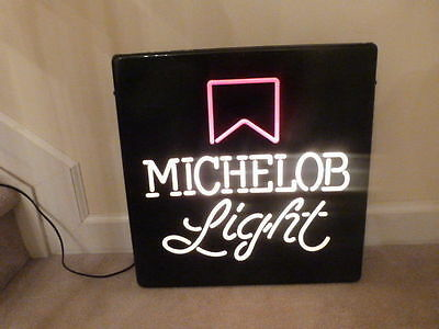 "VINTAGE 1980s MICHELOB LIGHT Plastic  Sign / Light 18""x18"""