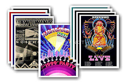 HAWKWIND  - 10 promotional posters - collectable postcard set # 1