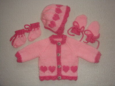 """Pink Round Neck Cardigan, Bonnet, Mittens/bootees 14"""" Chest Prem Baby"""