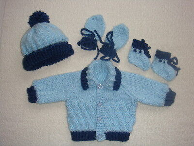 """Blue Jacket, Bobble Hat, Mittens/bootees 15"""" Chest Early Baby"""