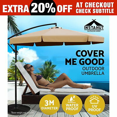 3M Garden Outdoor Umbrella Cantilever Shade Yard Deck Patio Market Beige