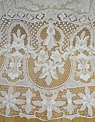 Stunning Vintage Antique Italian Needlepoint Lace Banquet Table Cloth Ss978