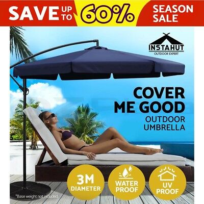 3M Garden Umbrella Outdoor Cantilever Shade Yard Deck Patio Market Beige