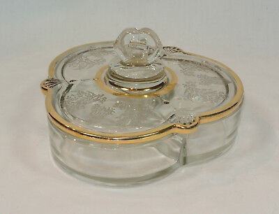 PADEN CITY Glass GAZEBO Candy Box Dish with Lid Gold Trim