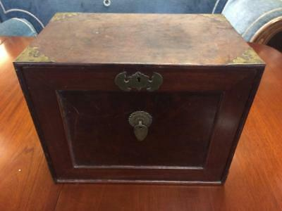 Antique Oriental Wooden Mahogany And Brass 5 Drawer Collectors Cabinet