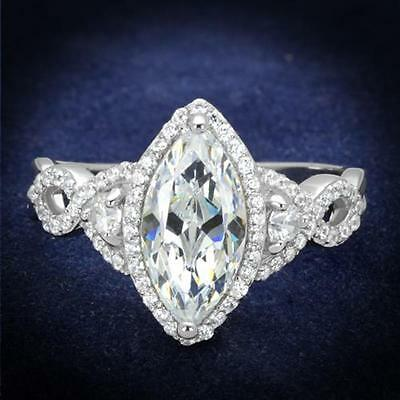 Women's .925 Sterling Silver Rhodium Plated 1.8 Ct Marquise Cz Engagement Ring