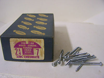 "#7 x 2 1/4"" Round Head Zinc Chromate Plated Wood Screws Slotted USA Made Qty 99"