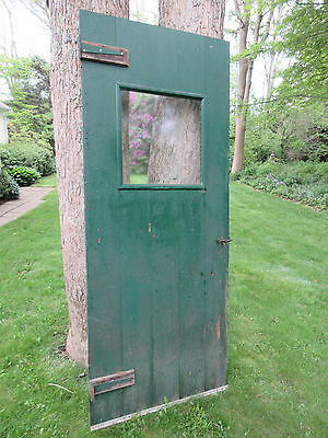Antique Wood Plank Barn Door w/Square Window From New Hampshire Farm