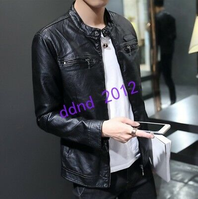 Men New Stand Collar Zipper Slim Fit Casual Motorcycle Leather Coat Jacket