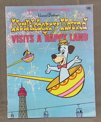 1976 Hanna Barbera's Huckleberry Hound Visits A Happy Land Giant Coloring Book