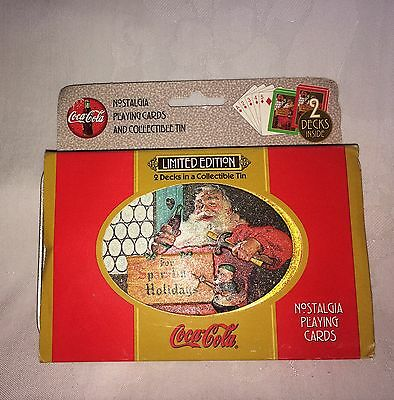Nostalgia Limited Edition Coca Cola Christmas 2 decks Playing Cards w/Tin-NWOT