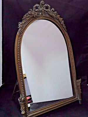 ANTIQUE ART NOUVEAU ORNATE BRASS  VANITY DRESSER  MIRROR or Wall