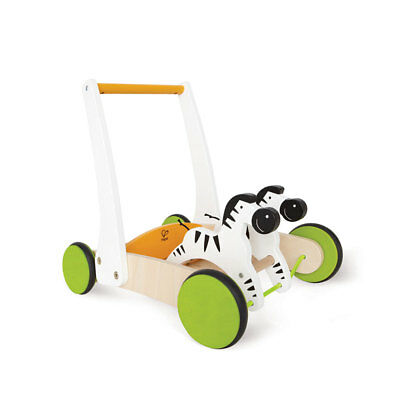 Hape Galloping Zebra Cart Toddler Kids Baby Wooden Push Walker Activity Toy