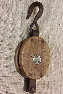 "STAR Wood Pulley block tackle old vintage 1800's 3"" wheel nice wormy rustic look"