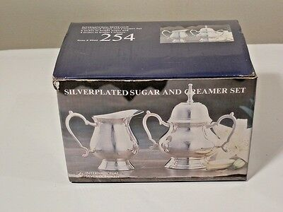 New In Box International Silverplate Sugar With Lid And Creamer 254 Item #9944