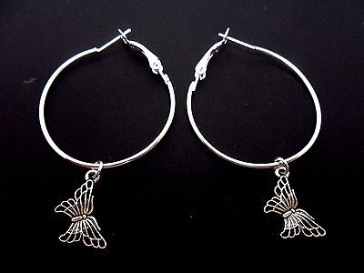 A Pair Of Silver Plated  Large 35Mm Hoop & Butterfly Earrings. New.