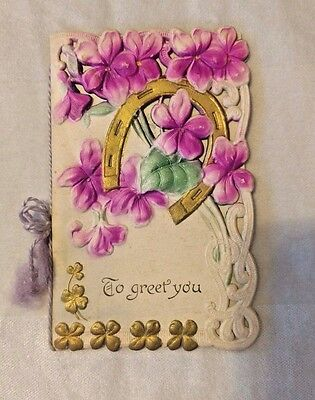 Vintage Embossed CHRISTMAS CARD early 1900s Violets horseshoe cutwork