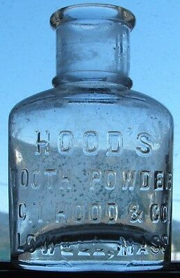 Nice antique HOOD'S TOOTH POWDER - LOWELL MASS. embossed bottle from 1800's.