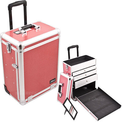 SUNRISE Professional Rolling Makeup Case in Aluminum, Cosmetic Organizer,Lock
