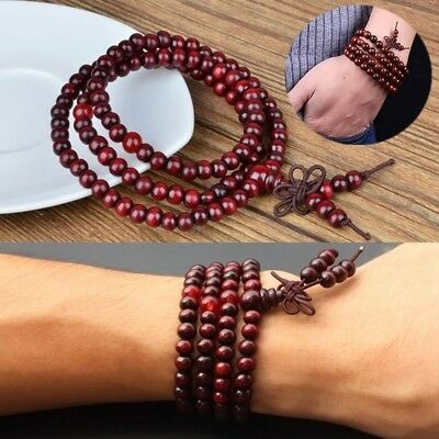 Sandalwood Buddhist Meditation 6mm*108 Prayer Bead Mala Bracelet/Necklace RED