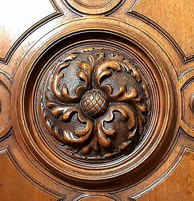 GOTHIC ROSACE PANEL MATCHED PAIR ANTIQUE HAND CARVED WOOD WALNUT CARVING 19th