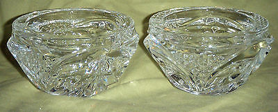Pair Crystal Glass Candle Holders