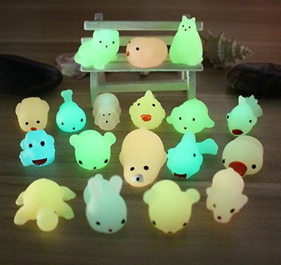 10 PCS night Luminous Squishy Slow Rising fidget toy Kawaii Animal Hand Toy U