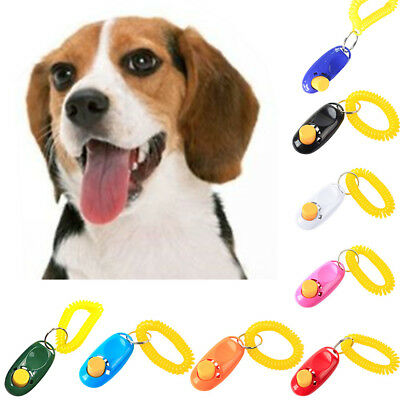 1PC Pet Dog Cat Click Clicker Training Agility Obedience Trainer Aid Wrist Strap