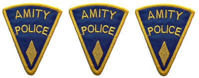 """JAWS Movie SET OF 3 AMITY POLICE Yellow Logo 3"""" Tall Embroidered Patches"""