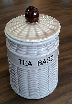 "Vintage Sonsco Small Ceramic 5.5"" Tea Bags Canister Woven Wicker Look W/Lid"