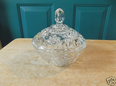 Vintage Anchor Hocking Clear Glass Early American Prescut Candy Dish with Lid